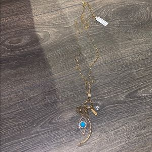 New Neiman Marcus 18k Gold Charm Long Necklace